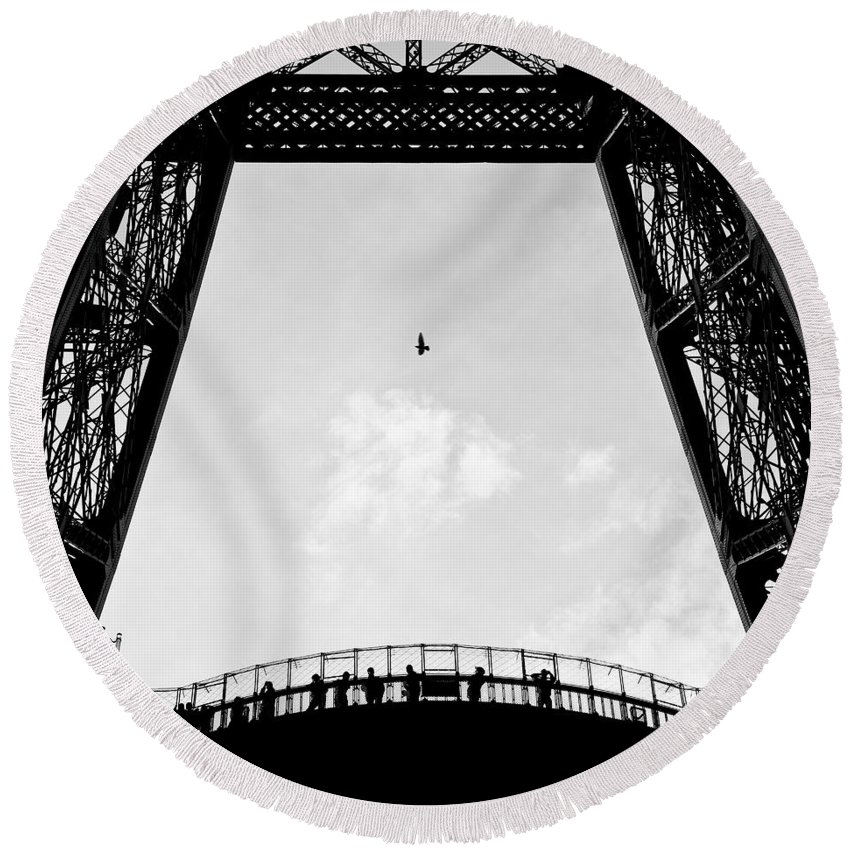Eiffel Tower Round Beach Towel featuring the photograph Birds-eye View by Dave Bowman