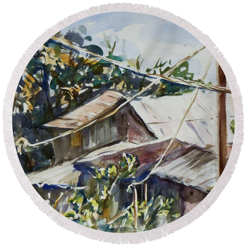 Landscape Round Beach Towel featuring the painting Bird's Eye View by Xueling Zou