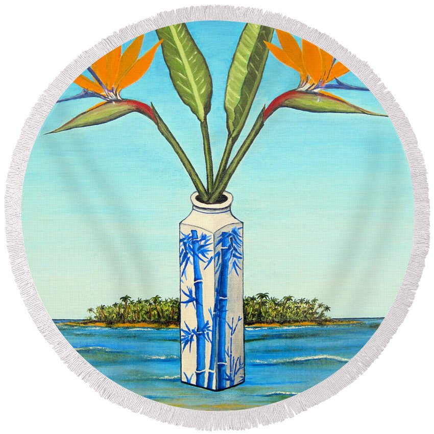 Flowers Round Beach Towel featuring the painting Birds Of Paradise Over Fiji by Jerome Stumphauzer