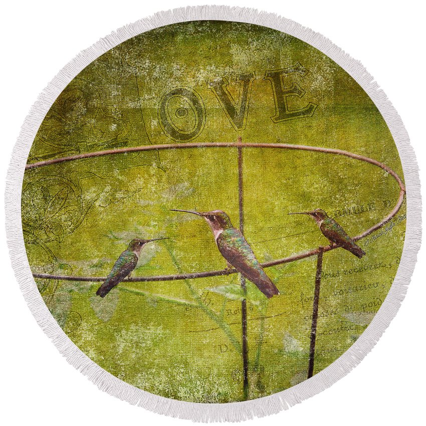 Fine Art Print Round Beach Towel featuring the photograph Birds On A Wire by Patricia Griffin Brett