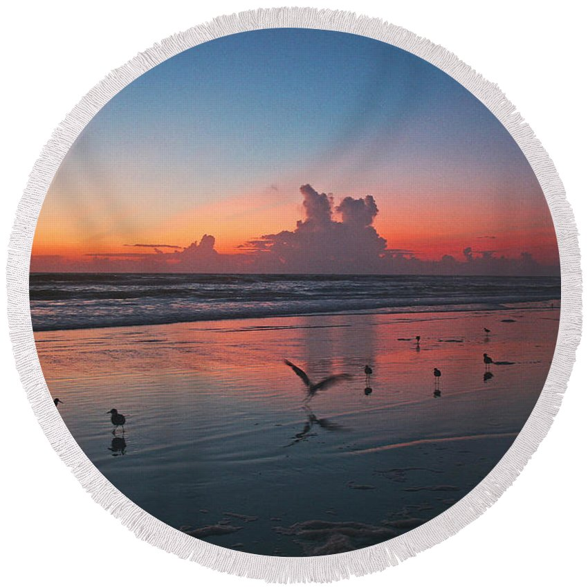 Sunrise Round Beach Towel featuring the photograph Birds On Beach by Shirley Roberson