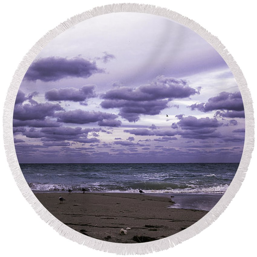 Birds Round Beach Towel featuring the photograph Birds On The Beach by Madeline Ellis