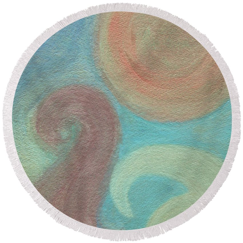 Abstract Round Beach Towel featuring the painting Birds by Vanessa Favero