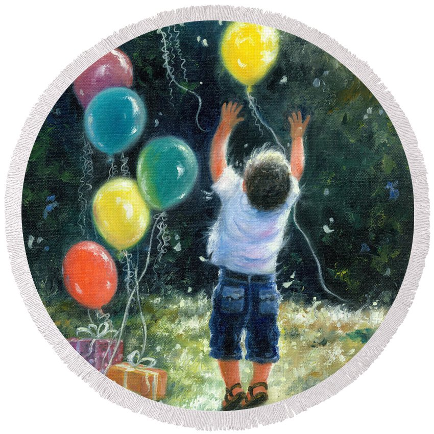 Little Boy Round Beach Towel featuring the painting Birthday Boy by Vickie Wade