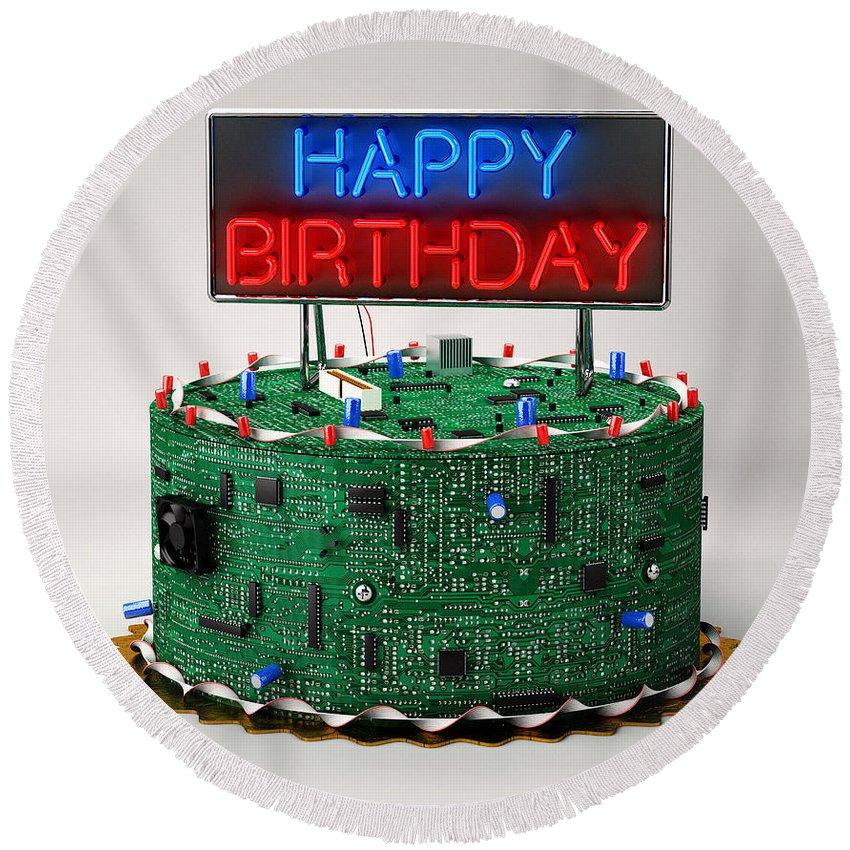 Cpu Round Beach Towel featuring the digital art Birthday Cake For Geeks by Vintage Treasure