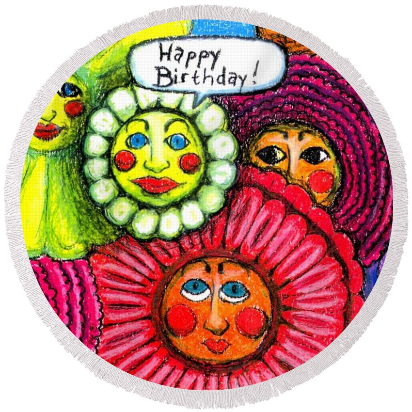Flowers Round Beach Towel featuring the painting Birthday Flowers by Genevieve Esson