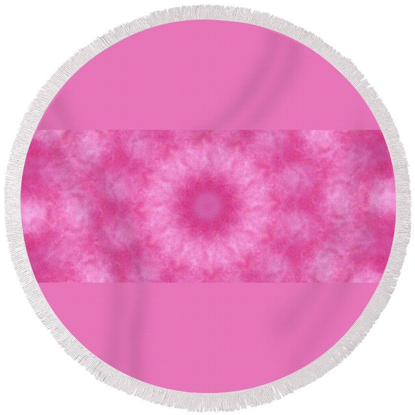 Mandala Round Beach Towel featuring the digital art Birthing Mandala 21 by Rhonda Barrett