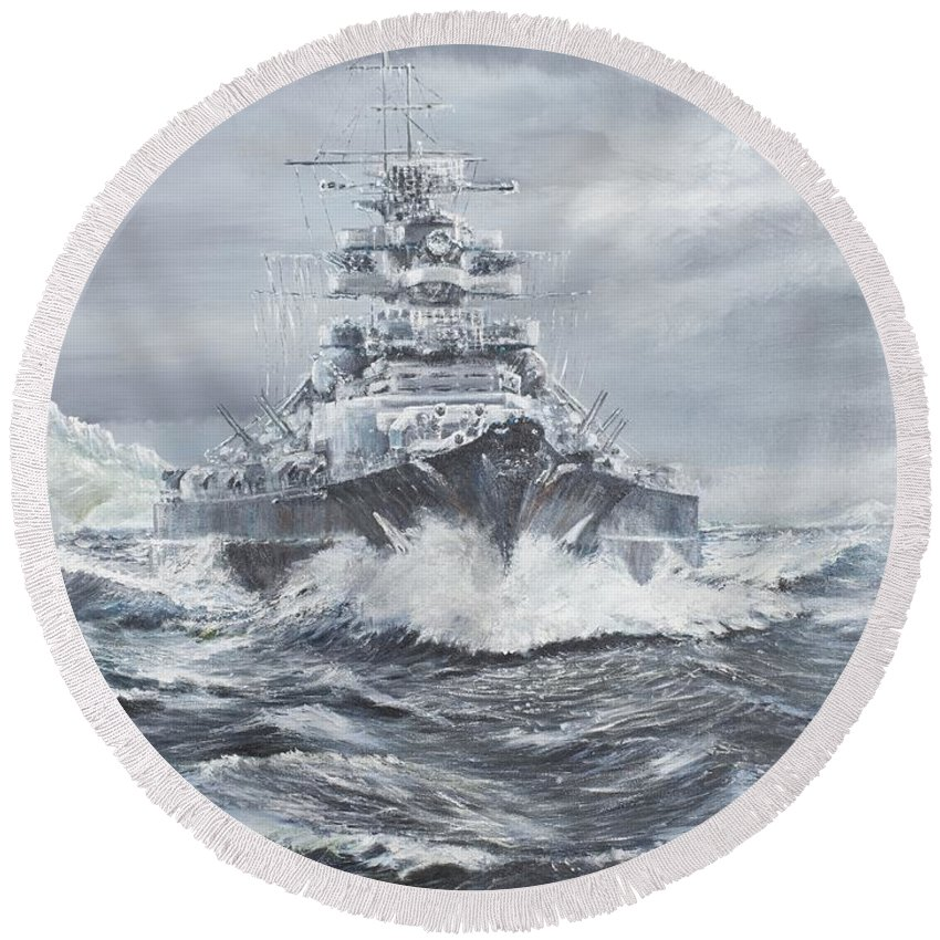 Bismarck Round Beach Towel featuring the painting Bismarck Off Greenland Coast by Vincent Alexander Booth