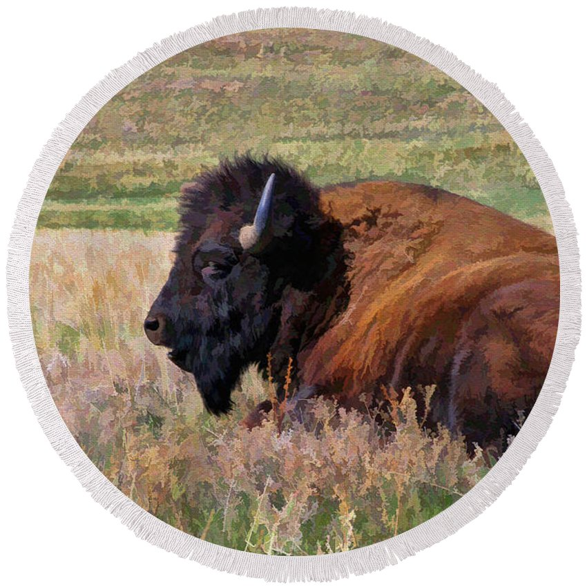 Antelope Island Round Beach Towel featuring the photograph Bison by Ely Arsha