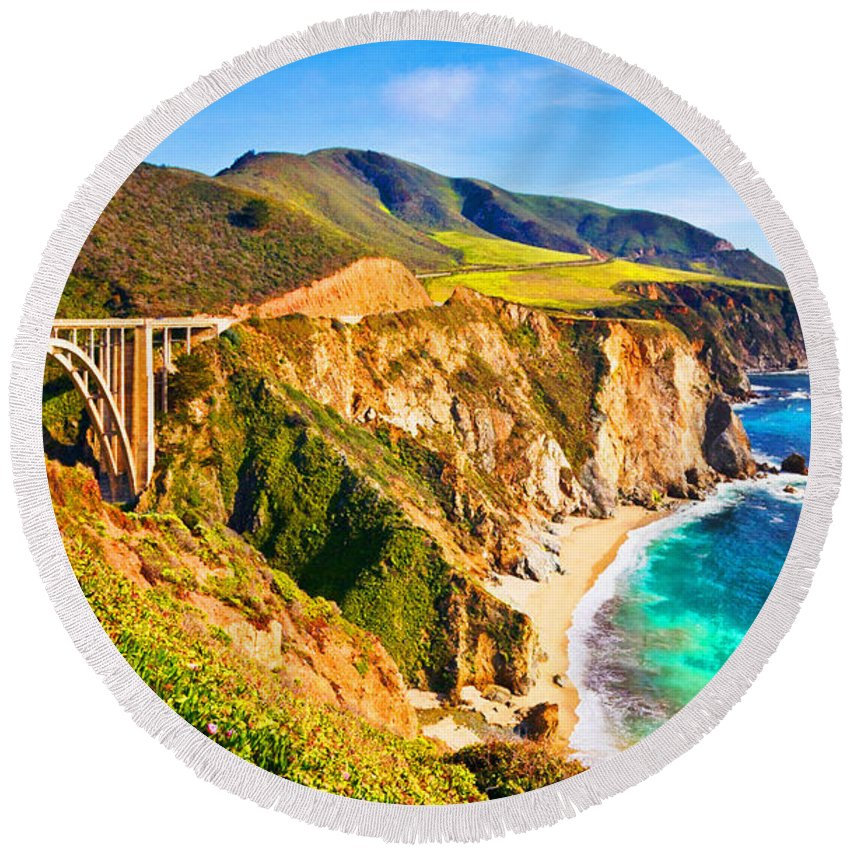 Aerial View Round Beach Towel featuring the digital art Bixby Creek Bridge Oil On Canvas by Don Kuing