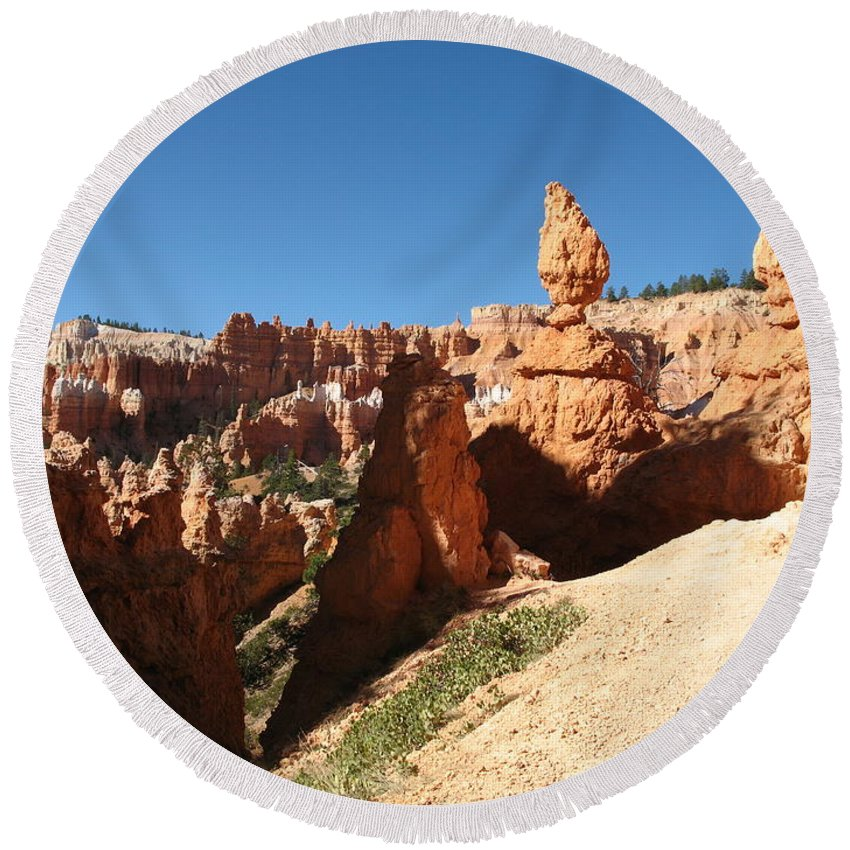 Canyon Round Beach Towel featuring the photograph Bizarre Shapes - Bryce Canyon by Christiane Schulze Art And Photography