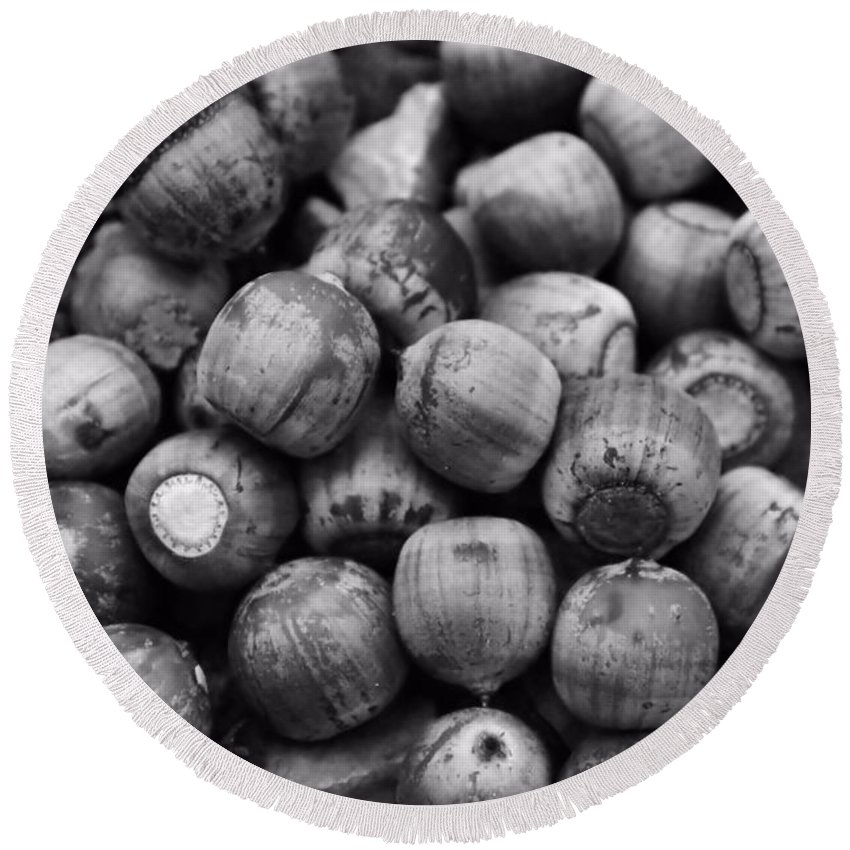 Acorns Round Beach Towel featuring the photograph Black And White Acorns by Dan Sproul