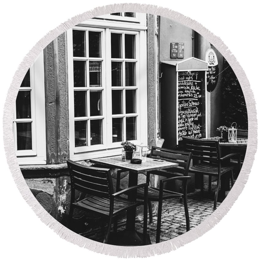 Black And White Round Beach Towel featuring the photograph Black And White Cafe by Pati Photography