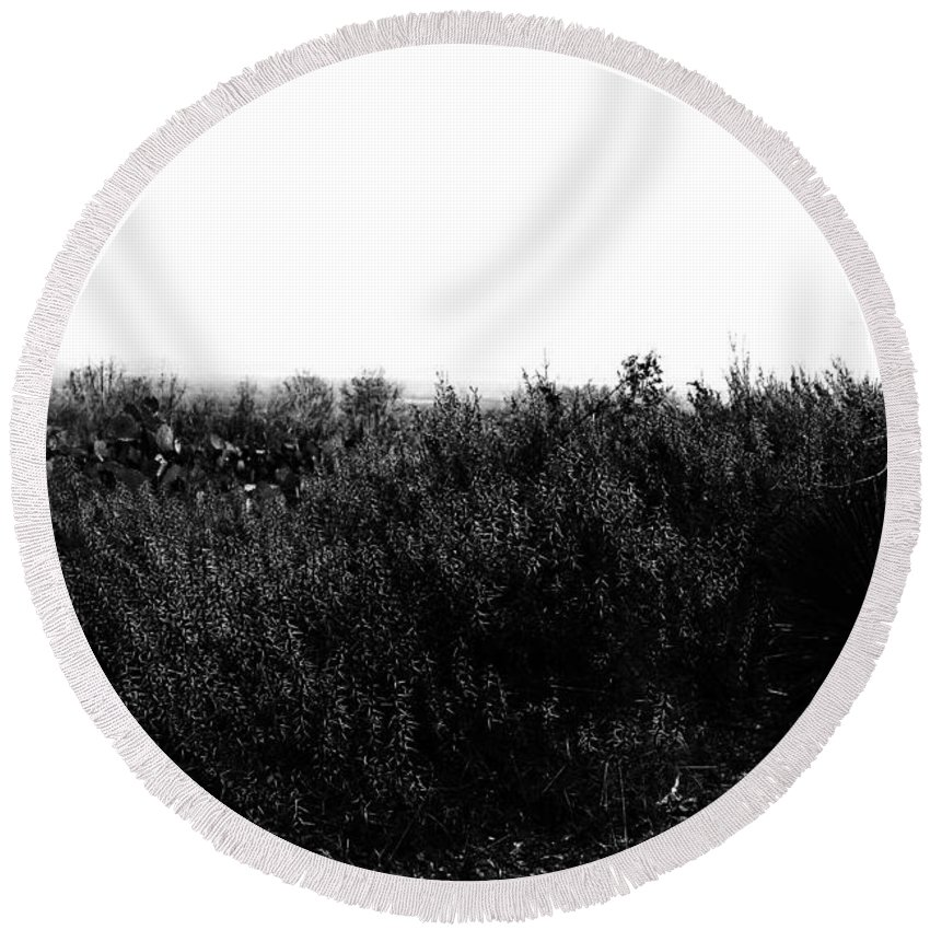 Wildflowers Round Beach Towel featuring the photograph Black And White Magic V2 by Douglas Barnard