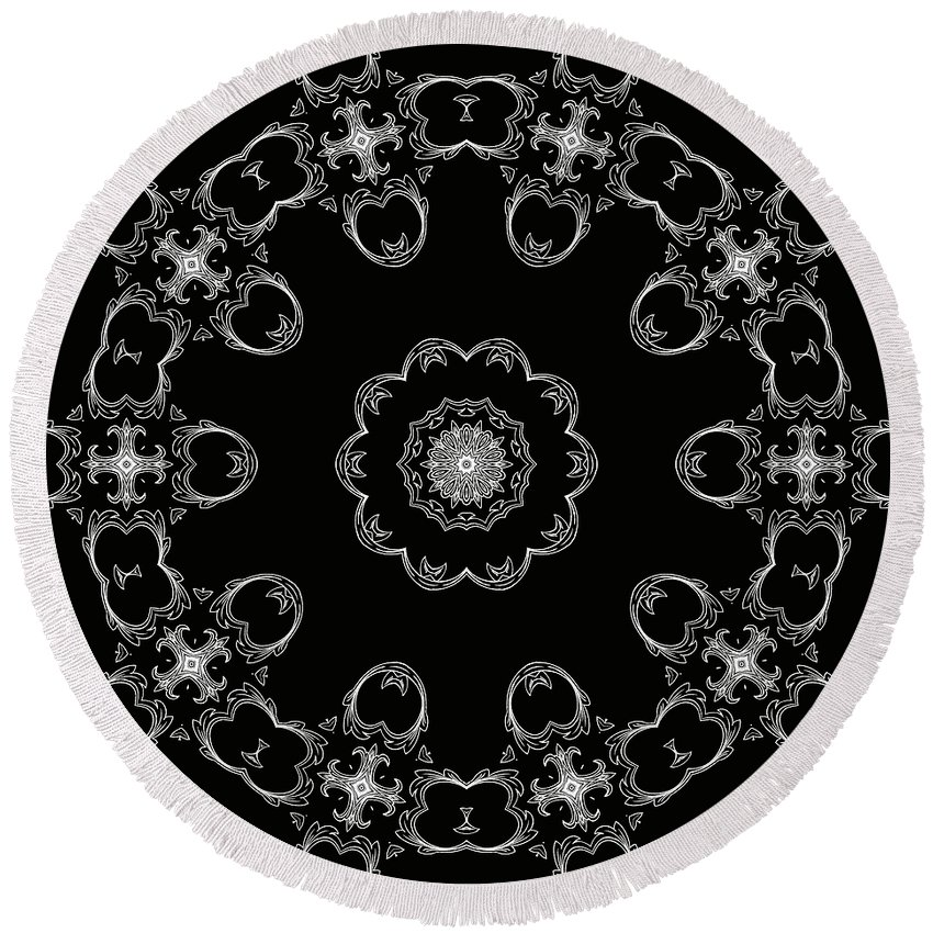 Intricate Round Beach Towel featuring the mixed media Black And White Medallion 3 by Angelina Tamez