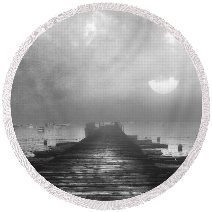 Black And White Round Beach Towel featuring the mixed media Black And White Mystery- From The Moon To The Mist by Georgiana Romanovna