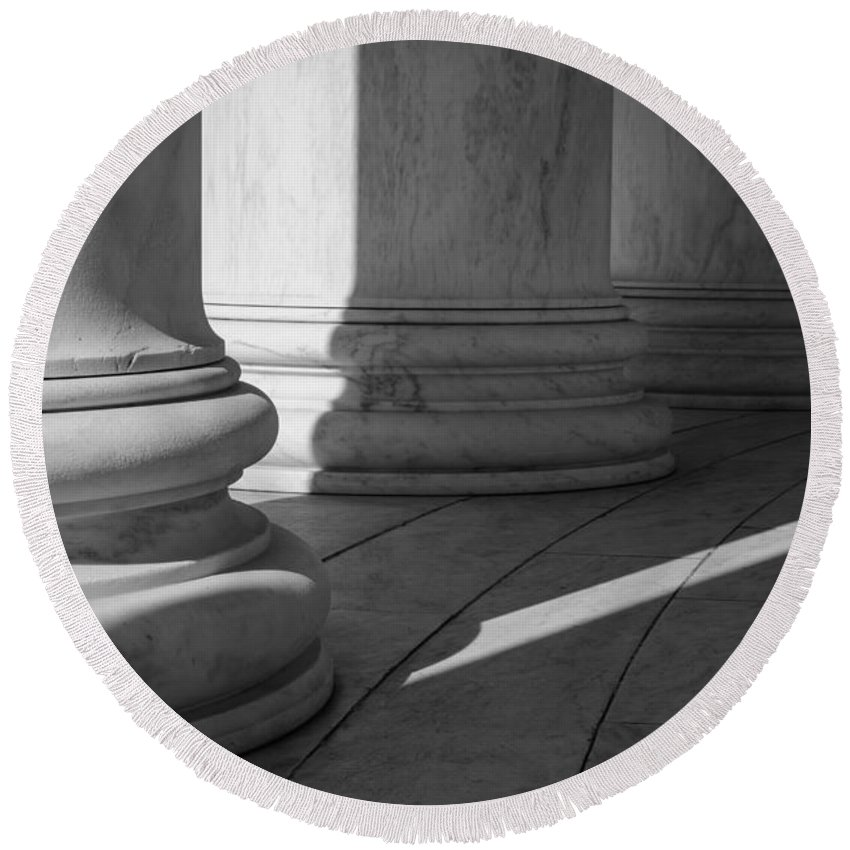 Stone Round Beach Towel featuring the photograph Black And White Pillars by Brandon Bourdages