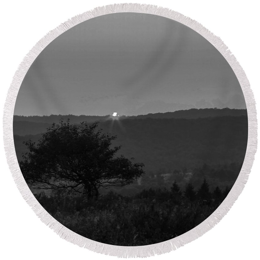 Black And White Round Beach Towel featuring the photograph Black And White Sunset by John Hannan