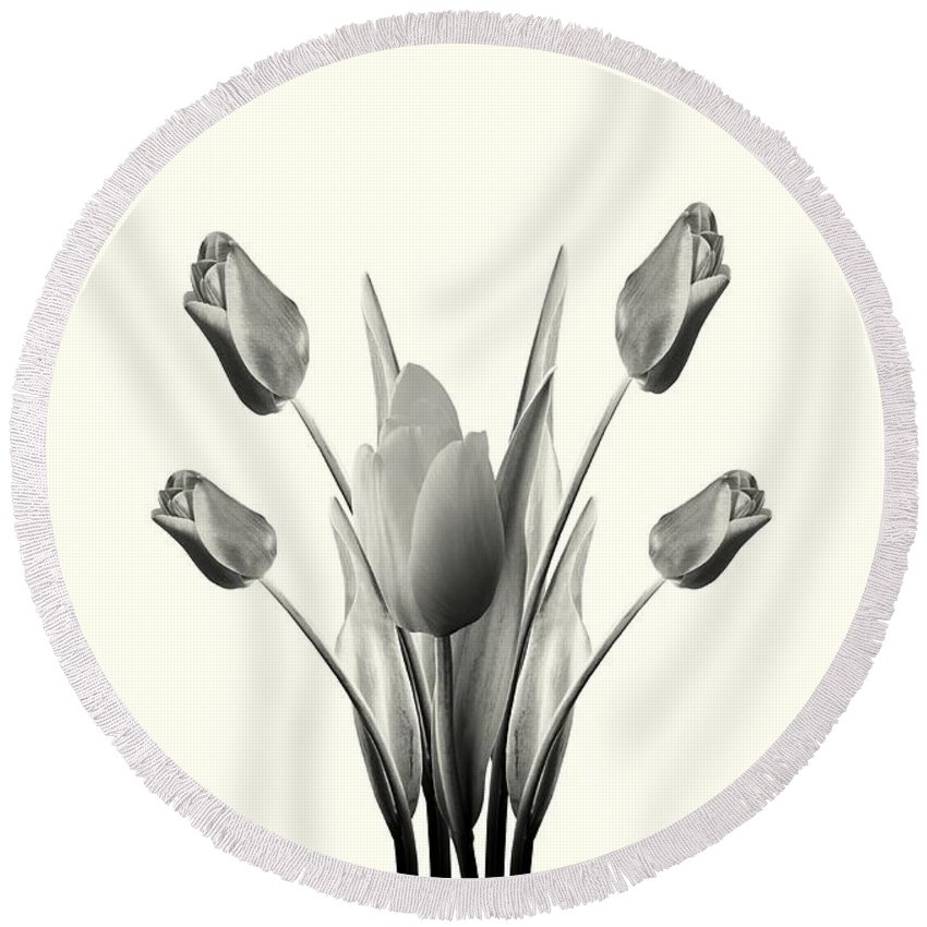 Tulips Round Beach Towel featuring the digital art Black And White Tulips Drawing by David Dehner