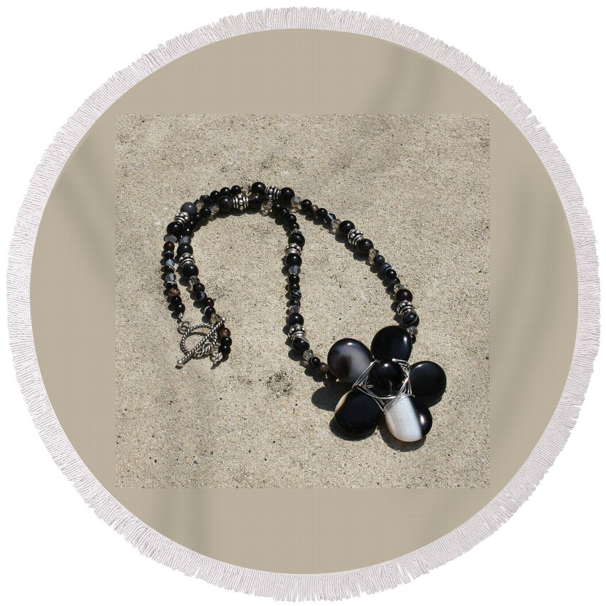 Original Handmade Jewelry Round Beach Towel featuring the jewelry Black Banded Onyx Wire Wrapped Flower Pendant Necklace 3634 by Teresa Mucha