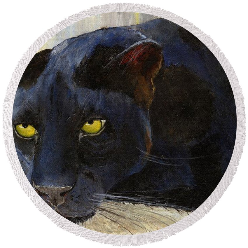 Black Cat Round Beach Towel featuring the painting Black Cat by Jamie Frier