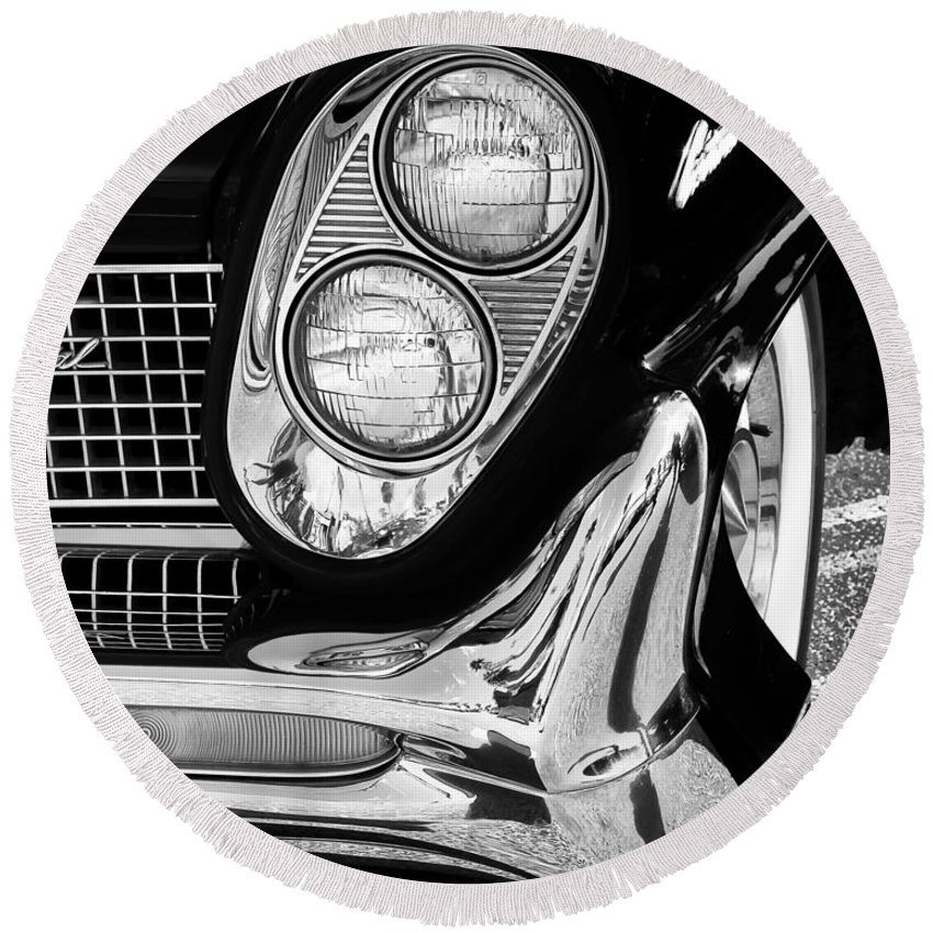 Car Auction Round Beach Towel featuring the photograph Quite Continental Palm Springs by William Dey