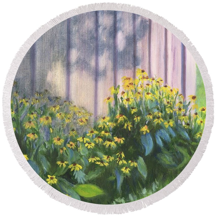 Flowers Round Beach Towel featuring the painting Black Eyed Susans by Deborah Butts
