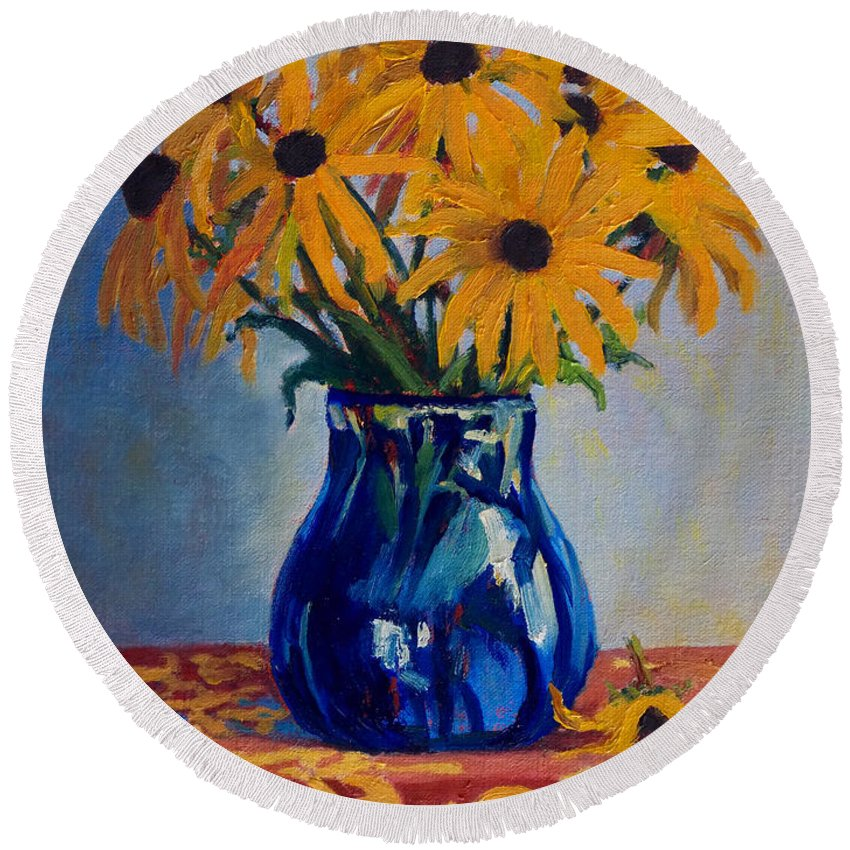 Impressionism Round Beach Towel featuring the painting Black Eyed Susans by Keith Burgess