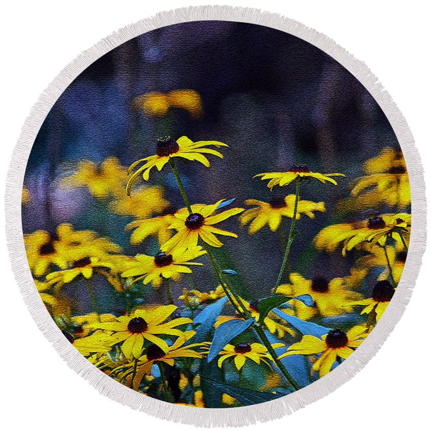 Mixed Media Art Round Beach Towel featuring the photograph Black-eyed Susans by Patricia Griffin Brett
