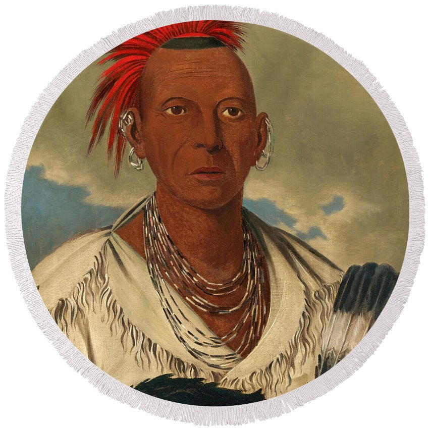 George Catlin Round Beach Towel featuring the painting Black Hawk. Prominent Sauk Chief. Sauk And Fox by George Catlin