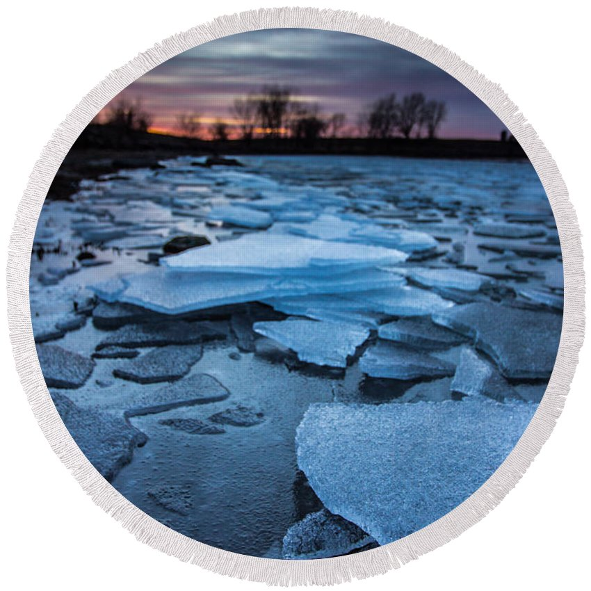 Ice Round Beach Towel featuring the photograph Black Ice by Aaron J Groen