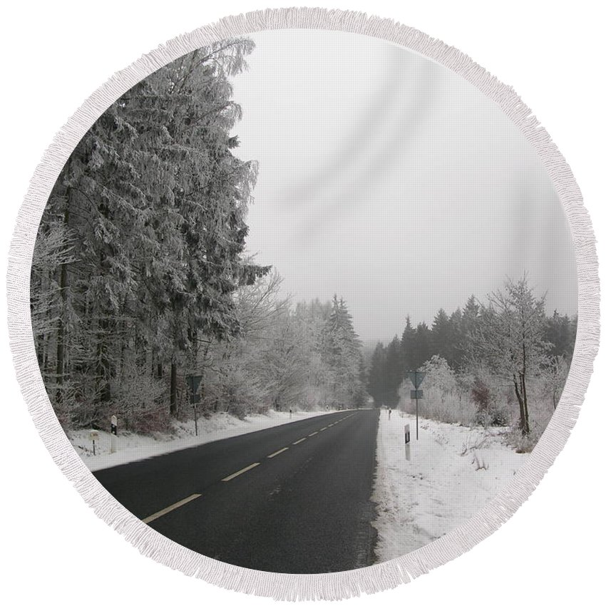 Landscape Snow Round Beach Towel featuring the photograph Black Ice by Louis Yamonico