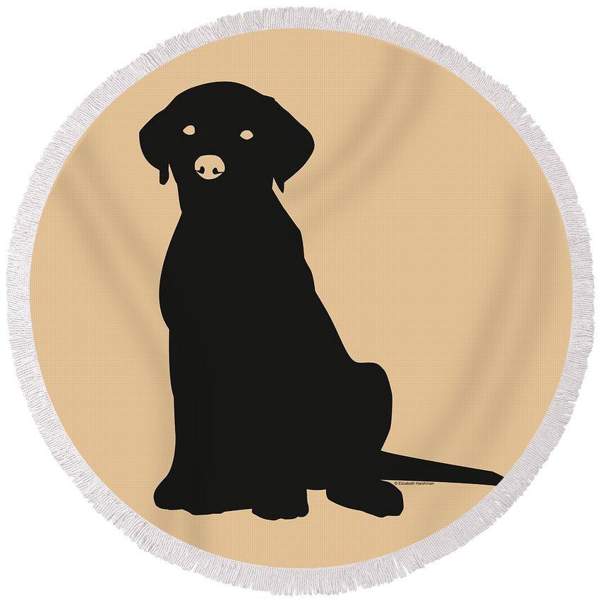 Lab Round Beach Towel featuring the digital art Black Labrador by Elizabeth Harshman