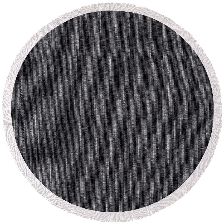 Black Round Beach Towel featuring the photograph Black Linen Texture by Tim Hester