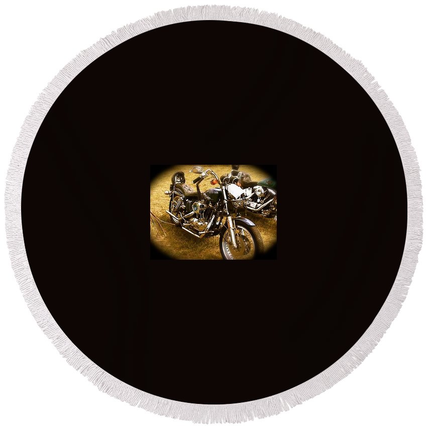 Black Motorcycle Round Beach Towel featuring the photograph Black Motorcycle by Chris W Photography AKA Christian Wilson