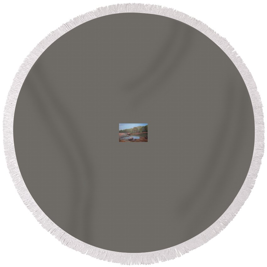 Rick Huotari Round Beach Towel featuring the painting Black River Falls by Rick Huotari