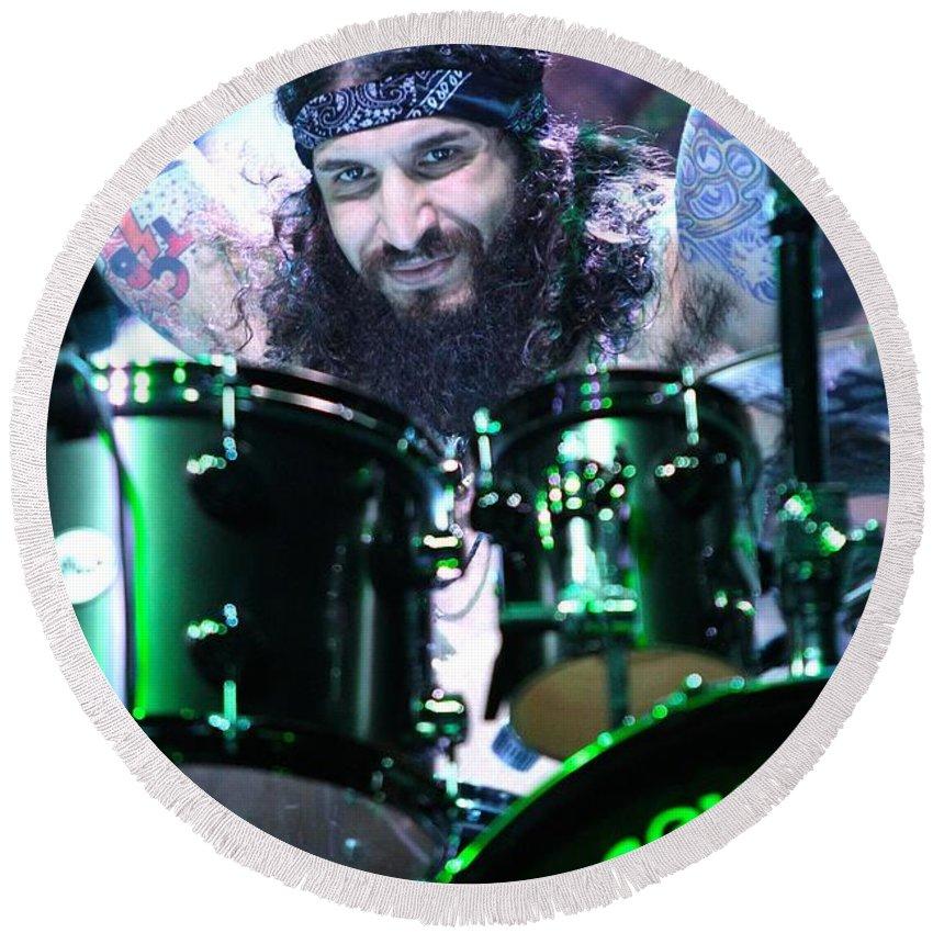 Drummer Round Beach Towel featuring the photograph Black Sabbath - Tommy Clufetos by Concert Photos