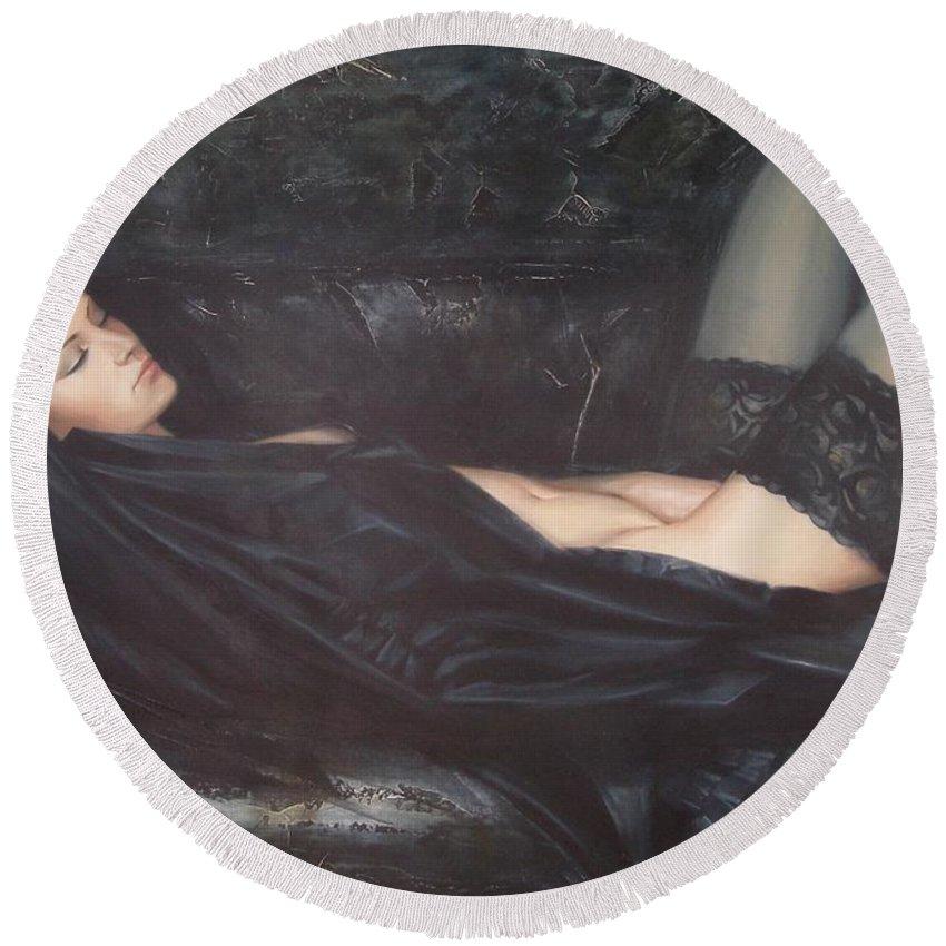 Ignatenko Round Beach Towel featuring the painting Black Silk by Sergey Ignatenko