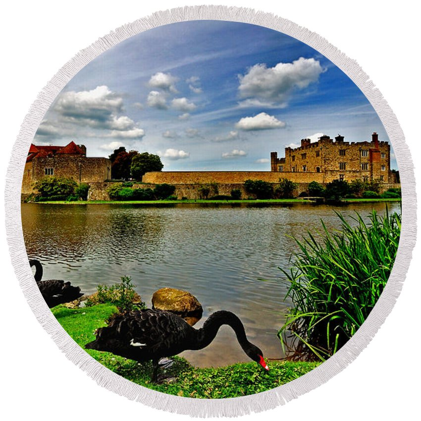 Leeds Castle Round Beach Towel featuring the photograph Black Swans At Leeds Castle II by Bel Menpes