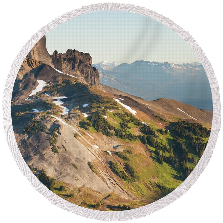 Mountain Round Beach Towel featuring the photograph Black Tusk Mountain And Helm Lake by Christopher Kimmel