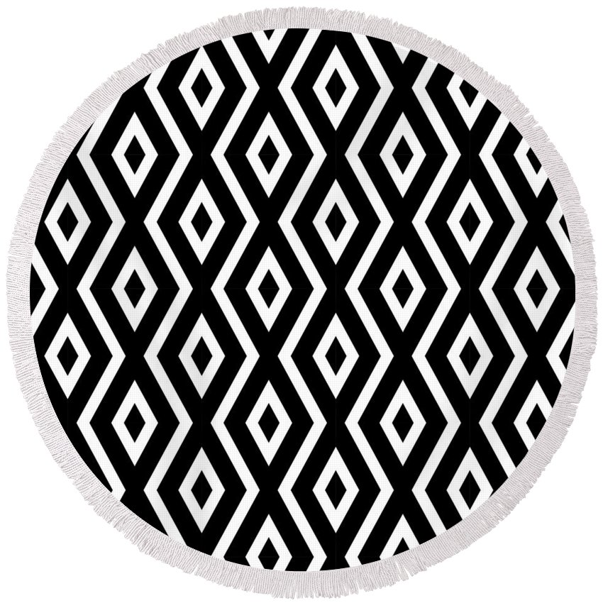 Black And White Round Beach Towel featuring the mixed media Black and White Pattern by Christina Rollo