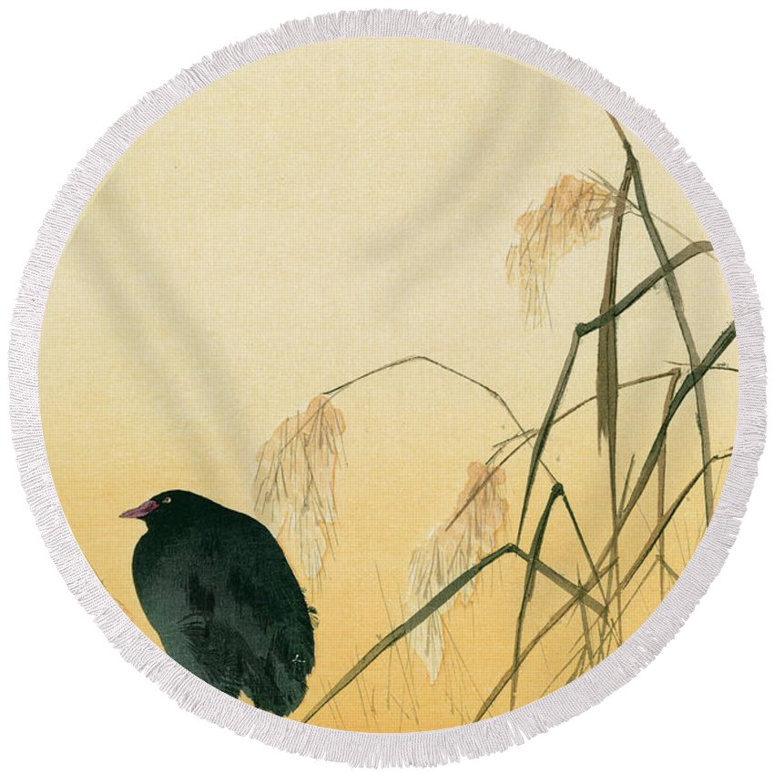 Japanese Round Beach Towel featuring the painting Blackbird by Japanese School
