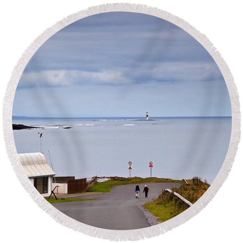 Photography Round Beach Towel featuring the photograph Blackrock Lighthouse, Off Rosses Point by Panoramic Images