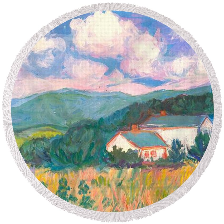 Clouds Round Beach Towel featuring the painting Blacksburg Clouds by Kendall Kessler