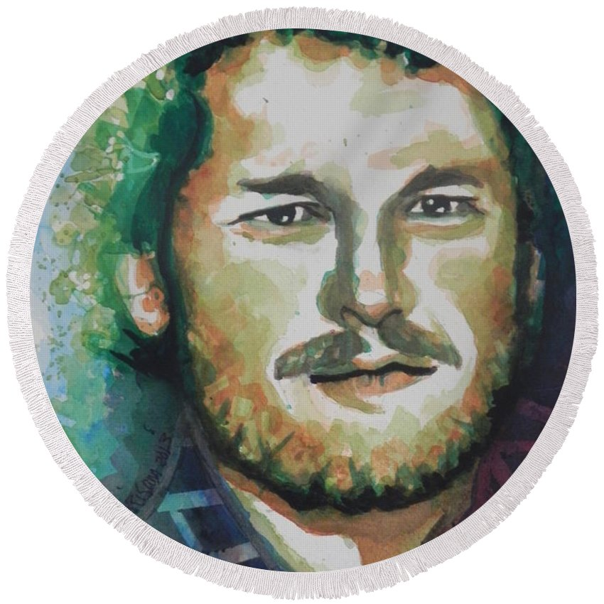 Watercolor Painting Round Beach Towel featuring the painting Blake Shelton Country Singer by Chrisann Ellis