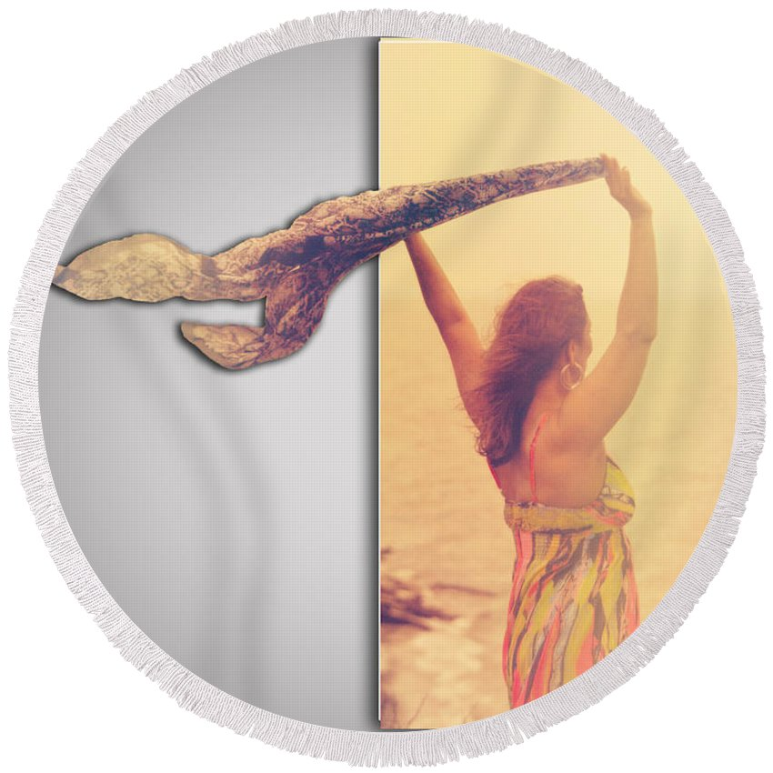 Blank Round Beach Towel featuring the photograph Blank Greeting Card 6 by Leticia Latocki