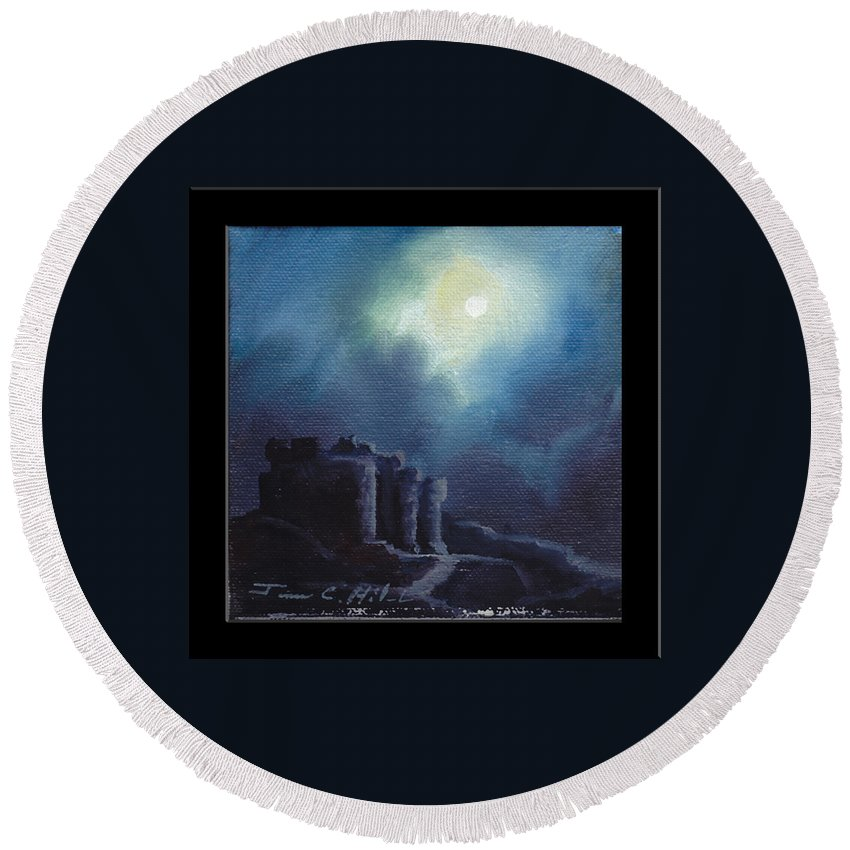 Gothic Round Beach Towel featuring the painting Blarney Castle by James Christopher Hill