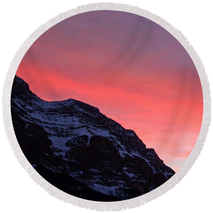 Banff National Park Round Beach Towel featuring the photograph Blazing Pink by James Anderson