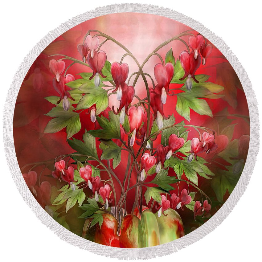 Bleeding Hearts Bouquet Round Beach Towel for Sale by Carol Cavalaris