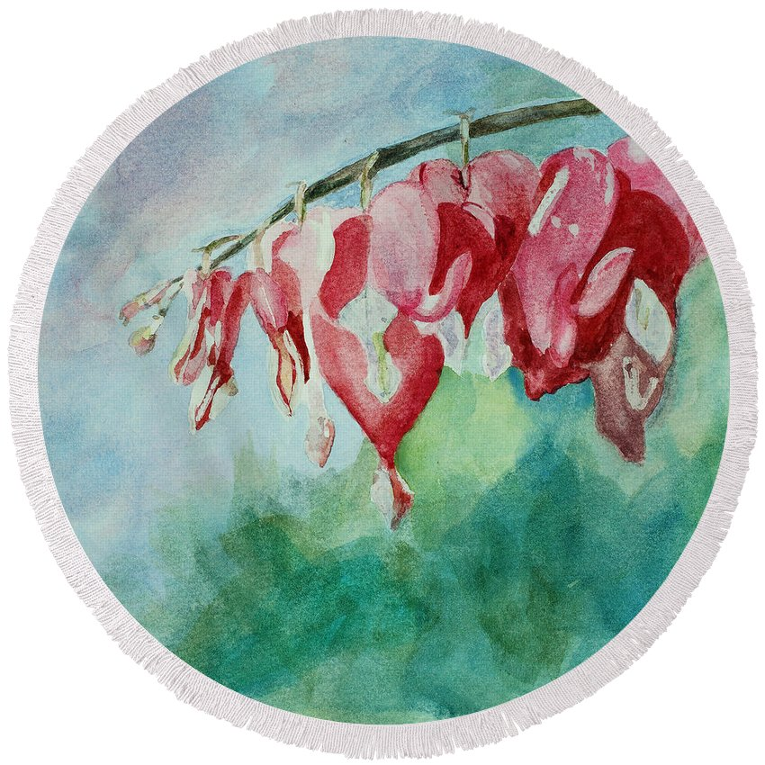 Watercolor Round Beach Towel featuring the painting Bleeding Hearts by Mary Benke